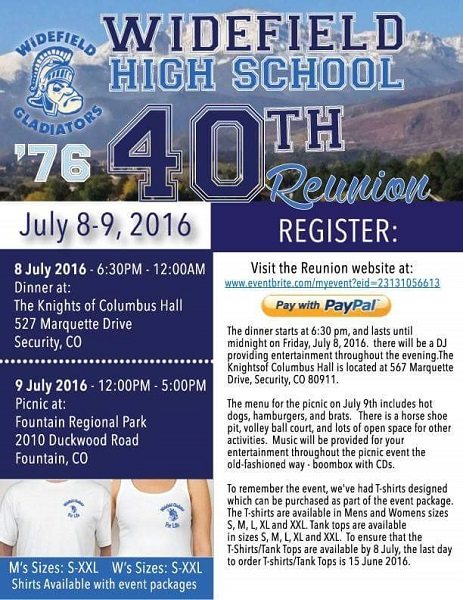 Widefield Reunion Class of 1976