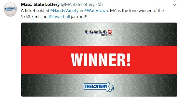 Winning Ticket Sold for $758 M Powerball Jackpot