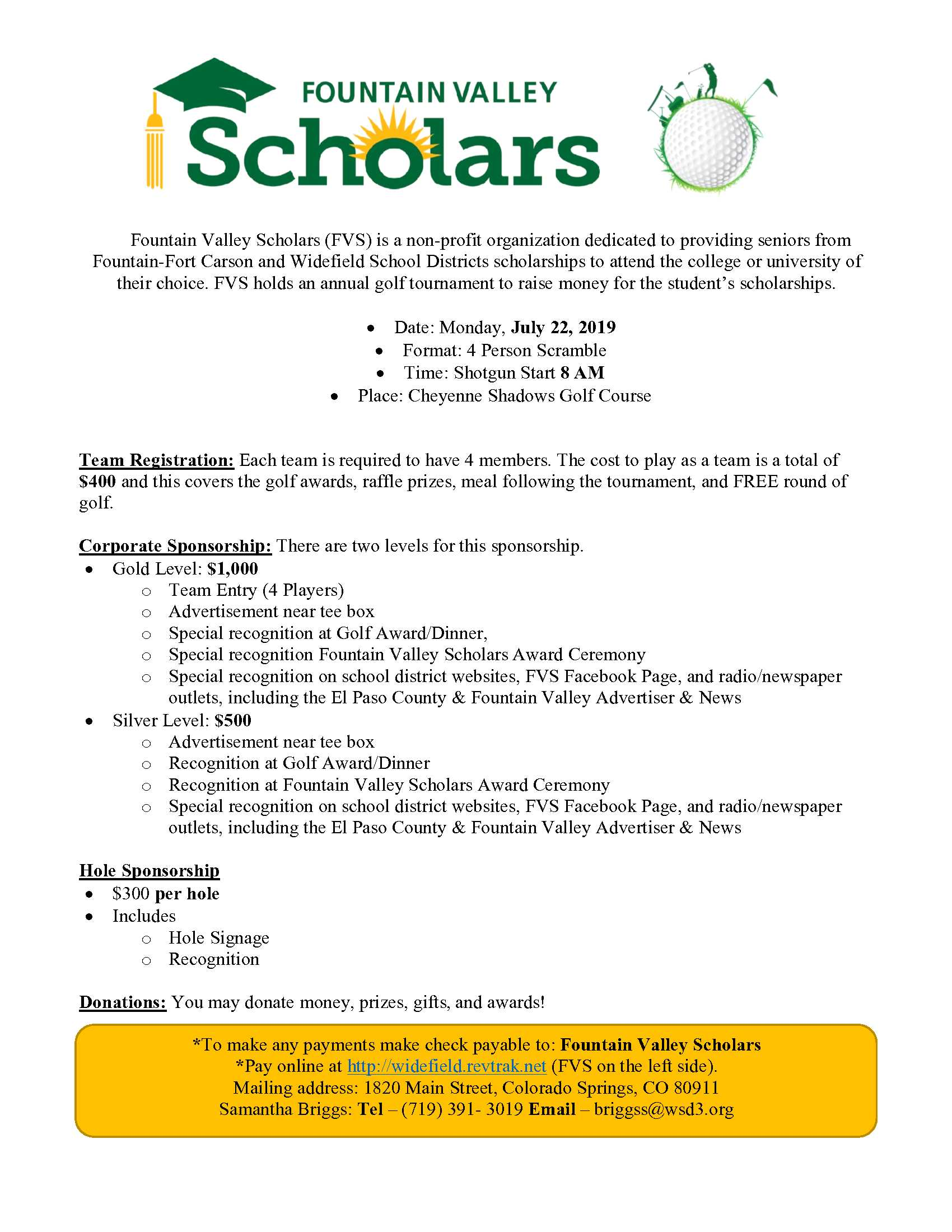 Fountain Valley Scholars Golf Tournament